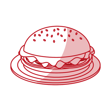 Flat line monocromatic hamburguer over white background. Vector illustration.