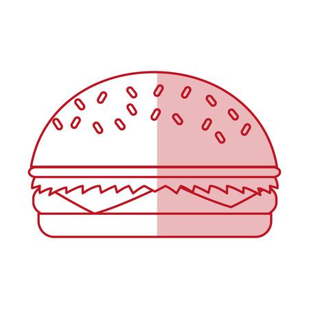 Flat line monocromatic hamburger over white background. Vector illustration.