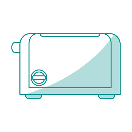 toasted: Flat line monocromatic toaster over white background. Vector illustration.