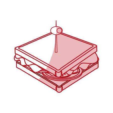 Płaskiej linii monocromatic kanapkę z oliwek na białym tle. Ilustracji wektorowych. Ilustracje wektorowe