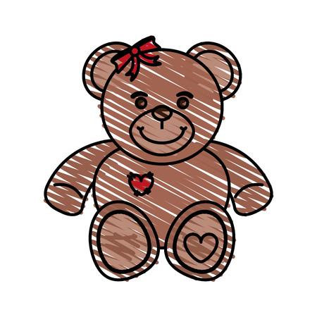 bear toy child vector illustration icon design graphic sketch