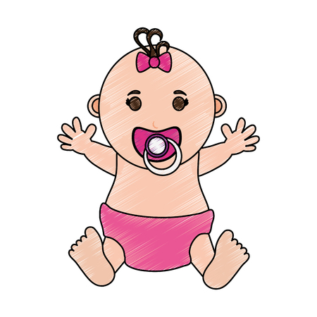 baby girl illustration icon vector design graphic sketch