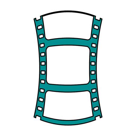 Flat line film strip over white background vector illustration Çizim