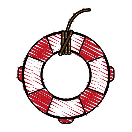 赤と白の命の恩人は、白い背景のベクトル図を落書き