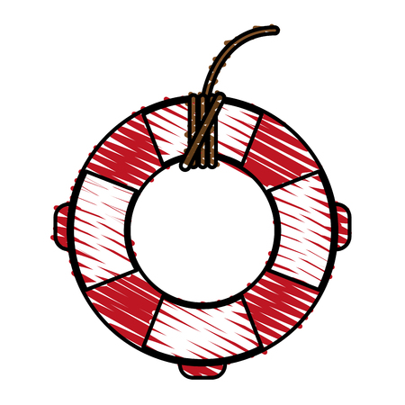 Red and white lifesaver doodle over white background vector illustration Illustration