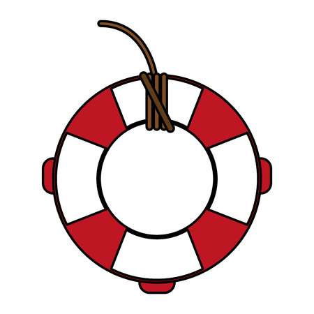 safe water: Red and white lifesaver over white background vector illustration