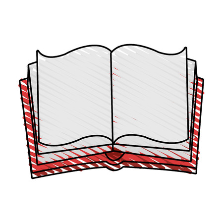 opened: Opened book doodle over white background vector illustration