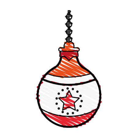 Christmass tree ball doodle over white background vector illustration Illustration