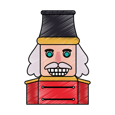 Nutcracker face doodle over white background vector illustration Illustration