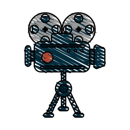 Film video camera doodle over white background vector illustration