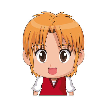 A face cute anime tennager facial expression vector illustration. Illustration