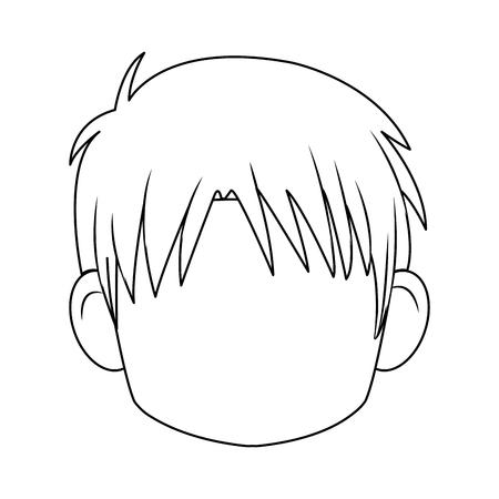 head boy anime avatar image vector illustration Illustration