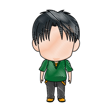 anime young: cute little boy anime faceless color image vector illustration