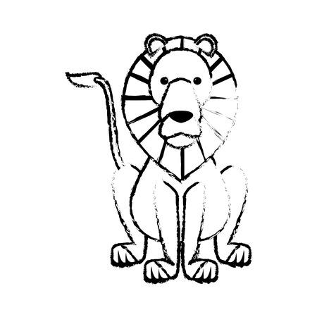 sketch lion wild life sitting icon vector illustration Illustration