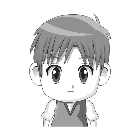 face cute anime tennager facial expression vector illustration Illustration