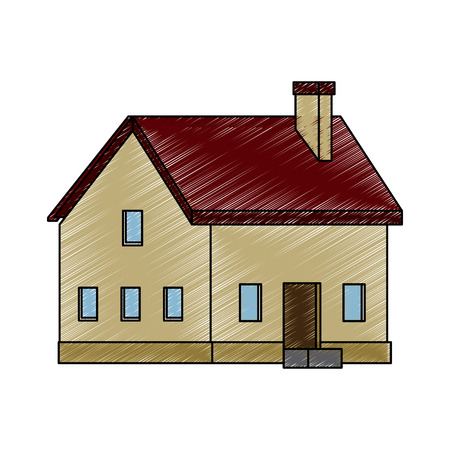 house countryside private chimney traditional residential vector illustration