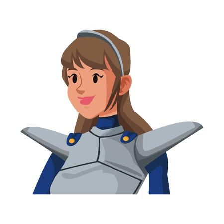 cartoon knight woman in costume with armor shield vector illustration Illustration