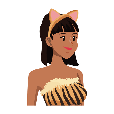 tigress: tigress woman in costume with ears party halloween vector illustration