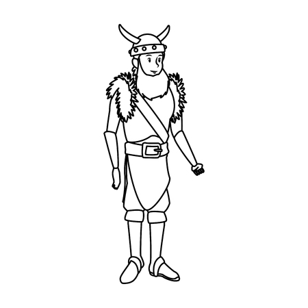 young man viking costume suit halloween vector illustration