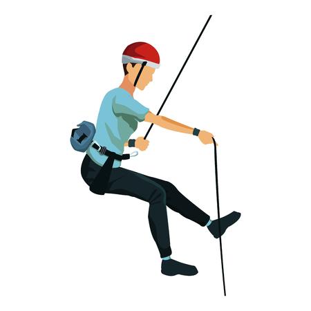 jeune grimpeur mâle suspendu à une corde et en regardant à quelque chose sur fond de ciel nuageux bleu