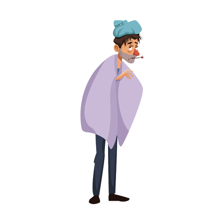 young man with a thermometer in his mouth wrapped in blanket vector illustration