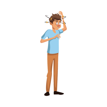 dizziness young man with stars spinning around his head vector illustration Illustration