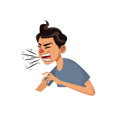 hoest man zieke persoon met koude griep en virus vector illustratie