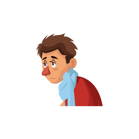 man with flu and fever wrapped in scarf holding handkerchief vector illustration Illustration