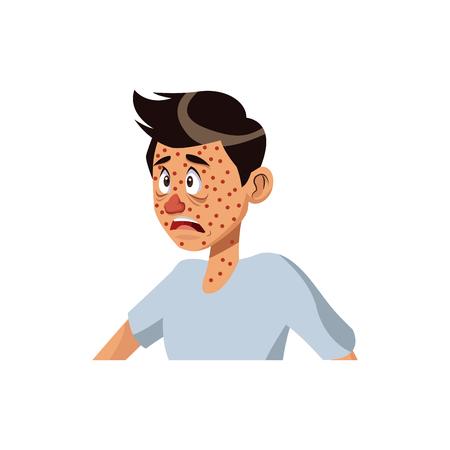 cartoon man met gezondheidsprobleem allergie vectorillustratie