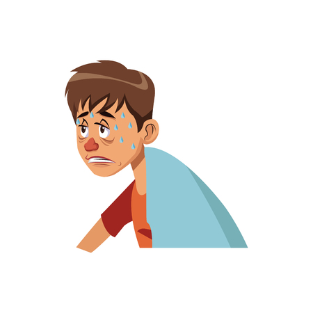 sick man red nose symptoms and sweating vector illustration Stock Vector - 80044758