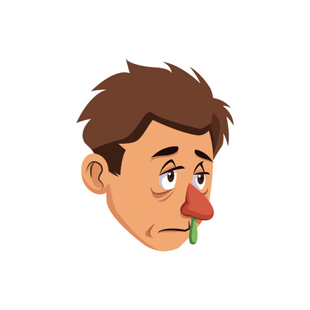 runny nose and sneezing a sick man image vector illustration
