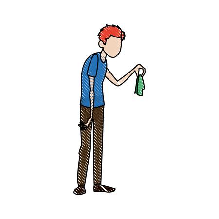 handkerchief: man with flu holding handkerchief vector illustration Illustration