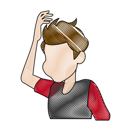 dizziness young man holding his head vector illustration Illustration