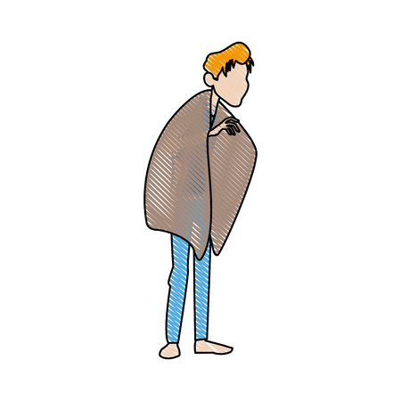 influenza: young man with fever wrapped in blanket vector illustration