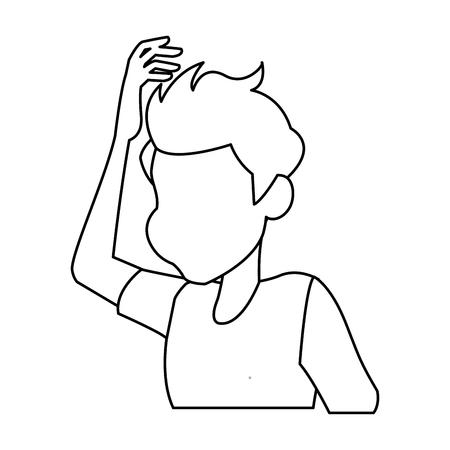 duizeligheid jonge man met zijn hoofd vectorillustratie