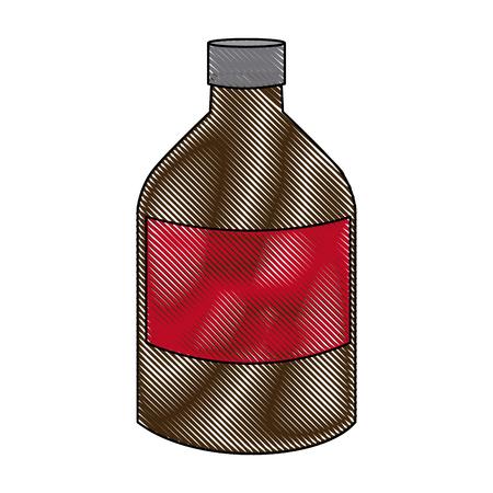 a substance vial: medicine bottle liquid health care icon vector illustration Illustration