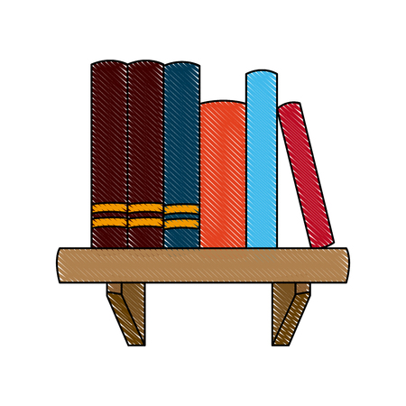 books shelf literature learn encyclopedia image vector illustration Illustration