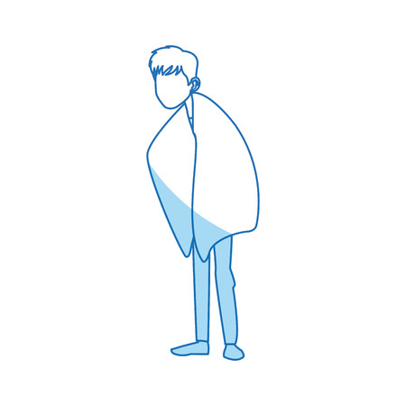 contagious: young man with fever wrapped in blanket vector illustration