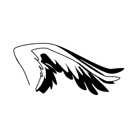 spread out bird or angel wing feathers icon vector illustration Ilustração