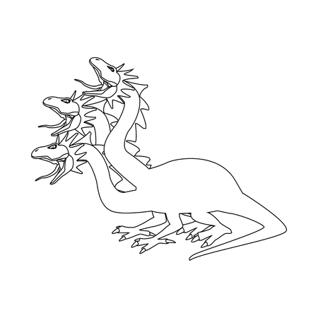 hydra mythological creature monster serpents vector illustration Illustration