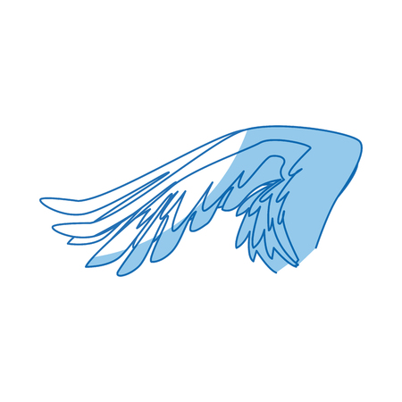 outstretched: spread out pegasus bird or angel wing vector illustration