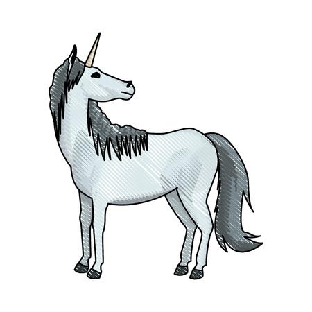 unicorn legendary mythical creature icon vector illustration