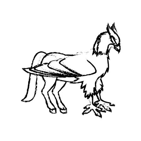 beast creature: hippogriff greek mythological creature beast vector illustration