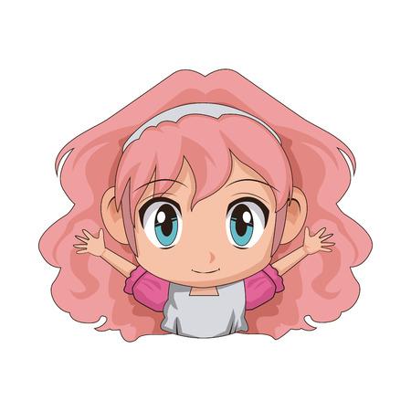 amazed: cute cartoon anime little girl chibi character vector illustration