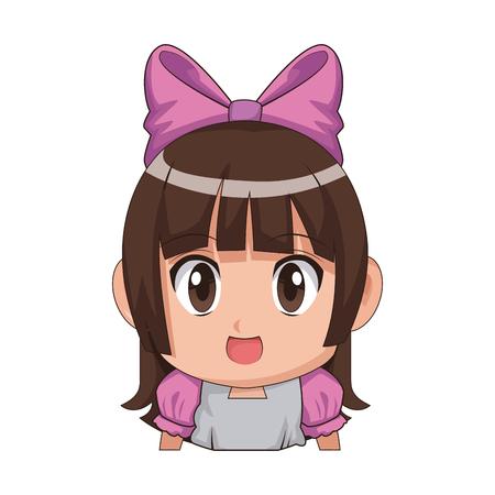 Cute animado de dibujos animados chica chibi carácter ilustración vectorial Foto de archivo - 80045963