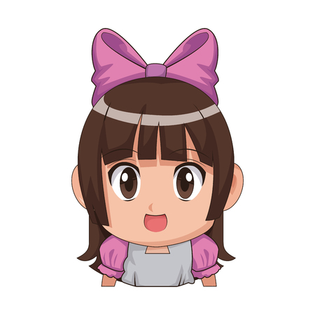 Cute Cartoon Anime Little Girl Chibi Character Vector Illustration