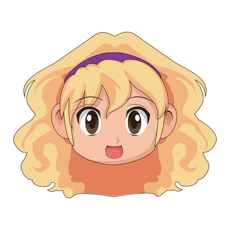 Ilustración de vector de dibujos animados cute anime chibi chica poco Foto de archivo - 80045971