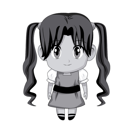 youngster: cute anime chibi little girl cartoon style vector illustration