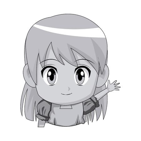 Cute animado de dibujos animados chica chibi carácter ilustración vectorial Foto de archivo - 80045488