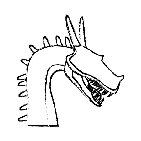 dragon beast mythology fantasy monster medieval vector illustration Çizim
